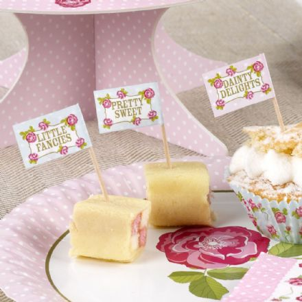 Vintage Rose Food Flags - pack of 20